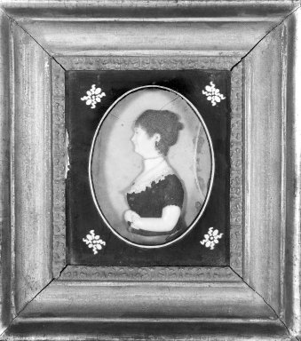 John Christian Rauschner (American, born Germany, 1760-1812). <em>Mrs. David F. De Launy</em>, ca. 1804. Colored wax mounted on glass, Image (sight): 4 7/8 x 3 5/8 in. (12.4 x 9.2 cm). Brooklyn Museum, Gift of Josephine C. de Launy, 28.254. Creative Commons-BY (Photo: Brooklyn Museum, 28.254_bw_SL1.jpg)