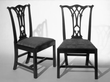 <em>Side Chair</em>, ca. 1775., 38 1/4 x 17 1/2 in. (97.2 x 44.5 cm). Brooklyn Museum, Henry L. Batterman Fund and Maria L. Emmons Fund, 28.258a. Creative Commons-BY (Photo: , 28.258a_28.258b_bw.jpg)