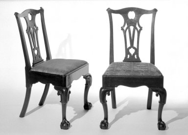 <em>Chippendale Style Side Chair</em>, 1760's-1770's. Mahogany, 38 1/4 x 22 x 21 1/2 in. (97.2 x 55.9 x 54.6 cm). Brooklyn Museum, Gift of Frank L. Babbott, 28.259a. Creative Commons-BY (Photo: , 28.259a-b_bw.jpg)