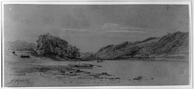 Thomas Moran (American, 1837-1926). <em>On the Delaware at Point Pleasant</em>, 1857. Graphite and white chalk on grayish brown, medium thick, slightly textured wove paper, Sheet: 3 15/16 x 8 3/4 in. (10 x 22.2 cm). Brooklyn Museum, Anonymous gift, 28.274 (Photo: Brooklyn Museum, 28.274_acetate_bw.jpg)