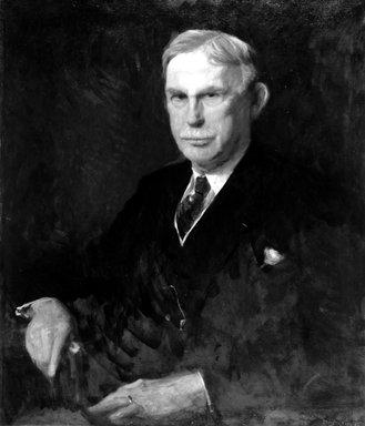 Stephen Douglas Volk (American, 1856-1935). <em>Frank L. Babbott</em>, 1925. Oil on canvas, 34 1/16 x 29 in. (86.5 x 73.7 cm). Brooklyn Museum, Gift of Mrs. William Sargent Ladd, Mrs. S. Emlen Stokes, Mrs. Ian McDonald, and Dr. Frank L. Babbott, Jr., 28.292 (Photo: Brooklyn Museum, 28.292_acetate_bw.jpg)