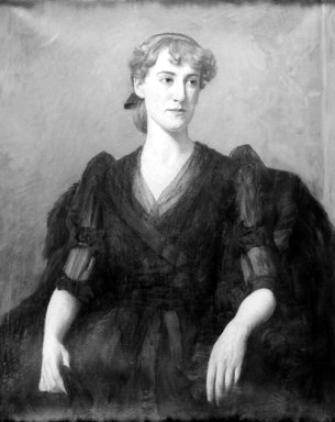 Benjamin Rutherford Fitz (American, 1855-1891). <em>Portrait of Edwina M. Post</em>, ca. 1890. Oil on canvas, 35 13/16 x 29 in. (91 x 73.6 cm). Brooklyn Museum, Gift of Edwina M. Post, 28.331 (Photo: Brooklyn Museum, 28.331_acetate_bw.jpg)