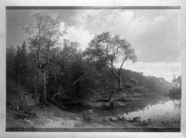 Alfred Wahlberg (Swedish, 1834-1906). <em>Landscape</em>, 1867. Oil on canvas, 41 1/4 x 56 1/2 in. (104.8 x 143.5 cm). Brooklyn Museum, Bequest of Charles Liebmann, 28.419 (Photo: Brooklyn Museum, 28.419_framed_bw.jpg)