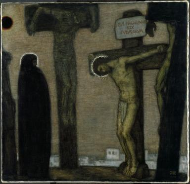Franz von Stuck (German, 1863-1928). <em>Golgotha</em>, 1917. Oil on canvas, 46 7/8 x 48 1/4 x 3 3/16 in. (119.1 x 122.6 x 8.1 cm). Brooklyn Museum, Gift of Alfred W. Jenkins, 28.420 (Photo: Brooklyn Museum, 28.420_SL3.jpg)