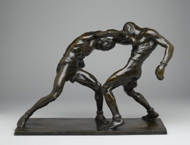Mahonri M. Young (American, 1877-1957). <em>Right to the Jaw</em>, 1926. Bronze, 14 1/2 x 20 1/2 x 9 in. (36.8 x 52.1 x 22.9 cm). Brooklyn Museum, Robert B. Woodward Memorial Fund, 28.422 (Photo: Brooklyn Museum, 28.422_front_PS2.jpg)