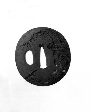 Ichinomiya of Kyoto. <em>Sword Guard</em>, ca. 1800. Iron, shakudo, gold, silver, copper, 2 11/16 x 2 5/8 x 3/16 in. (6.8 x 6.6 x 0.4 cm). Brooklyn Museum, Gift of F. Ethel Wickham, 28.591. Creative Commons-BY (Photo: Brooklyn Museum, 28.591_front_bw.jpg)