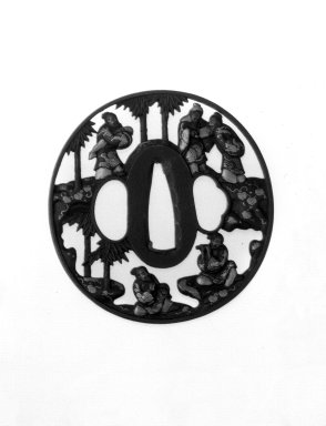 <em>Sword Guard</em>, 18th century. Iron, chiseled and pierced and with extensive gilding, 2 15/16 x 2 13/16 x 3/16 in. (7.5 x 7.2 x 0.4 cm). Brooklyn Museum, Gift of F. Ethel Wickham, 28.594. Creative Commons-BY (Photo: Brooklyn Museum, 28.594_front_bw.jpg)