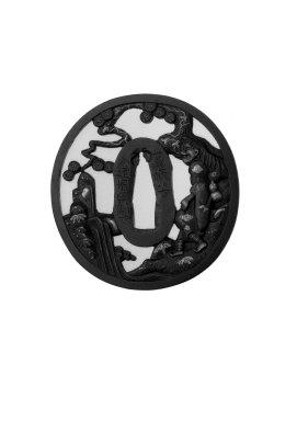 <em>Sword Guard</em>, 19th century. Iron, 2 15/16 x 2 13/16 x 3/16 in. (7.4 x 7.2 x 0.4 cm). Brooklyn Museum, Gift of F. Ethel Wickham, 28.599. Creative Commons-BY (Photo: Brooklyn Museum, 28.599_front_bw.jpg)