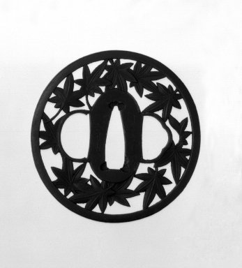 <em>Sword Guard</em>, 18th century. Iron, 2 7/8 in. (7.3 cm). Brooklyn Museum, Gift of F. Ethel Wickham, 28.612. Creative Commons-BY (Photo: Brooklyn Museum, 28.612_front_bw.jpg)