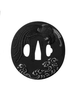 Kaomi of Mito (Japanese). <em>Sword Guard</em>, mid-19th century. Iron, iroe, 3 3/16 x 3 1/16 x 3/16 in. (8.1 x 7.7 x 0.4 cm). Brooklyn Museum, Gift of F. Ethel Wickham, 28.631. Creative Commons-BY (Photo: Brooklyn Museum, 28.631_front_bw.jpg)