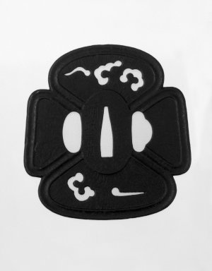 Miochin Munekane (Japanese). <em>Sword Guard</em>, 19th century. Iron, 3 3/8 x 3 1/4 x 1/8 in. (8.5 x 8.2 x 0.3 cm). Brooklyn Museum, Gift of F. Ethel Wickham, 28.636. Creative Commons-BY (Photo: Brooklyn Museum, 28.636_front_bw.jpg)