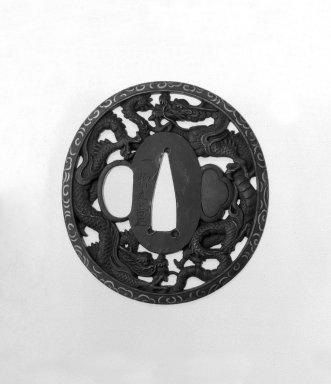<em>Sword Guard</em>, 18th century. Iron, gold, 2 15/16 x 2 3/4 x 3/16 in. (7.5 x 7 x 0.4 cm). Brooklyn Museum, Gift of F. Ethel Wickham, 28.639. Creative Commons-BY (Photo: Brooklyn Museum, 28.639_front_bw.jpg)