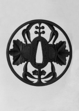 Nagato. <em>Sword Guard</em>, 18th century. Iron, 3/16 x 3 5/16 in. (0.4 x 8.4 cm). Brooklyn Museum, Gift of F. Ethel Wickham, 28.651. Creative Commons-BY (Photo: Brooklyn Museum, 28.651_front_bw.jpg)