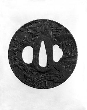 Nagato. <em>Sword Guard</em>, 18th century. Iron, 3/16 x 3 in. (0.4 x 7.6 cm). Brooklyn Museum, Gift of F. Ethel Wickham, 28.655. Creative Commons-BY (Photo: Brooklyn Museum, 28.655_front_bw.jpg)