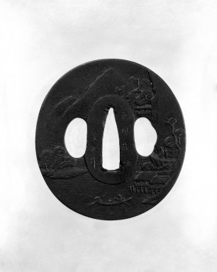 Nagato. <em>Sword Guard</em>, 18th century. Iron, 2 13/16 x 2 5/8 in. (7.1 x 6.6 cm). Brooklyn Museum, Gift of F. Ethel Wickham, 28.656. Creative Commons-BY (Photo: Brooklyn Museum, 28.656_front_bw.jpg)