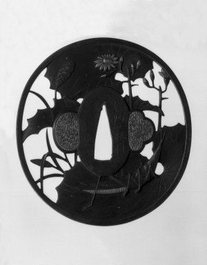 Nagato. <em>Sword Guard</em>, ca. 1800. Chiseled iron; gilding, 3 3/8 x 3 1/8 x 1/8 in. (8.5 x 8 x 0.3 cm). Brooklyn Museum, Gift of F. Ethel Wickham, 28.658. Creative Commons-BY (Photo: Brooklyn Museum, 28.658_front_bw.jpg)