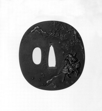 Umetada (Japanese). <em>Sword Guard</em>, 19th century. Iron, iroe, 2 13/16 x 2 5/8 x 3/16 in. (7.2 x 6.7 x 0.4 cm). Brooklyn Museum, Gift of F. Ethel Wickham, 28.676. Creative Commons-BY (Photo: Brooklyn Museum, 28.676_front_bw.jpg)