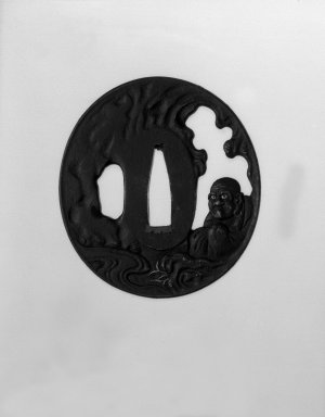 <em>Sword Guard</em>, 19th century. Iron, gold; copper sekigane, 2 3/4 x 2 9/16 x 3/16 in. (7 x 6.5 x 0.4 cm). Brooklyn Museum, Gift of F. Ethel Wickham, 28.725. Creative Commons-BY (Photo: Brooklyn Museum, 28.725_front_bw.jpg)
