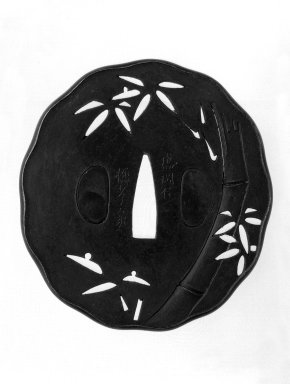 <em>Sword Guard</em>, mid-19th century. Iron, shakudo, 1/8 x 3 1/8 in. (0.3 x 8 cm). Brooklyn Museum, Gift of F. Ethel Wickham, 28.726. Creative Commons-BY (Photo: Brooklyn Museum, 28.726_front_bw.jpg)