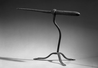 American. <em>Tripod</em>, 19th century. Wrought Iron, Stand: 10 3/4 x 8 3/4 in. (27.3 x 22.2 cm). Brooklyn Museum, Gift of May Gelston, 28.761. Creative Commons-BY (Photo: Brooklyn Museum, 28.761_acetate_bw.jpg)
