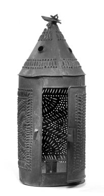 American. <em>Lantern for Candle</em>, ca. 1800-1825. Tin, Height: 13 in. (33 cm). Brooklyn Museum, Gift of May Gelston, 28.771. Creative Commons-BY (Photo: Brooklyn Museum, 28.771_bw.jpg)