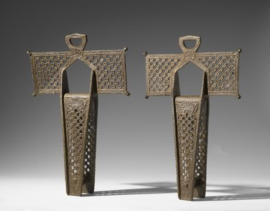 <em>Stirrups</em>, ca. 1750. Forged iron and bronze, Individual stirrup: 18 x 12 3/4 x 3 1/2 in. (45.7 x 32.4 x 8.9 cm). Brooklyn Museum, Gift of F. Ethel Wickham in memory of her father, W. Hull Wickham, 28.778a-b. Creative Commons-BY (Photo: Brooklyn Museum, 28.778a-b_PS6.jpg)