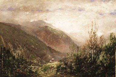 William Louis Sonntag (American, 1822-1900). <em>Scene in the White Mountains</em>, ca. 1860-1870. Oil on canvas, 16 1/8 x 24 in. (40.9 x 61 cm). Brooklyn Museum, Gift of Mrs. Willard H. Platt, 28.7 (Photo: Brooklyn Museum, 28.7_transp948.jpg)