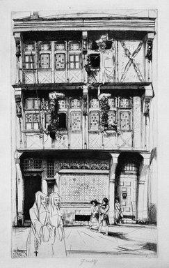 John W. Winkler (American, born Austria, 1890-1979). <em>La Maison des Saintes Rouen, (House of Saints)</em>, 1926. Etching on paper, 12 1/4 x 7 5/16 in. (31.1 x 18.5 cm). Brooklyn Museum, Frederick Loeser Fund, 28.97. © artist or artist's estate (Photo: Brooklyn Museum, 28.97_bw.jpg)