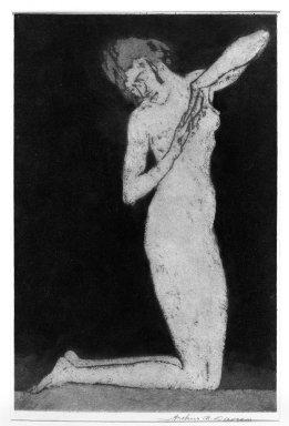 Arthur B. Davies (American, 1862-1928). <em>Dawn</em>, 1922. Aquatint on white laid paper, Sheet: 14 3/8 x 10 1/4 in. (36.5 x 26 cm). Brooklyn Museum, Frederick Loeser Fund, 28.99 (Photo: Brooklyn Museum, 28.99_bw.jpg)