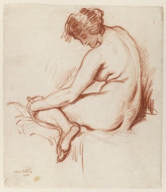 Albert Sterner (American, 1863-1946). <em>Nude</em>, 1916. Sanguine and Chinese white chalk on paper, Sheet: 18 1/8 x 15 1/8 in. (46 x 38.4 cm). Brooklyn Museum, Gift of the artist, 29.1030 (Photo: Brooklyn Museum, 29.1030_IMLS_PS3.jpg)