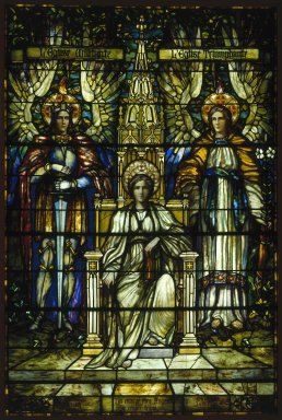 Frederick Stymetz Lamb (American, 1862-1928). <em>Religion Enthroned</em>. Stained glass window Brooklyn Museum, Gift of Irving T. Bush in memory of his father and mother, 29.1082. Creative Commons-BY (Photo: Brooklyn Museum, 29.1082_SL1.jpg)