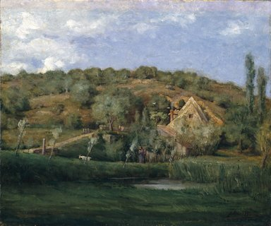 Julian Alden Weir (American, 1852-1919). <em>A French Homestead</em>, 1878. Oil on canvas, frame: 27 1/2 x 31 x 2 in. (69.9 x 78.7 x 5.1 cm). Brooklyn Museum, Gift of Alfred W. Jenkins, 29.1085 (Photo: Brooklyn Museum, 29.1085_SL1.jpg)