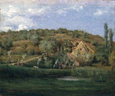 Julian Alden Weir (American, 1852-1919). <em>A French Homestead</em>, 1878. Oil on canvas, frame: 27 1/2 x 31 x 2 in. (69.9 x 78.7 x 5.1 cm). Brooklyn Museum, Gift of Alfred W. Jenkins, 29.1085 (Photo: Brooklyn Museum, 29.1085_SL1.jpg)