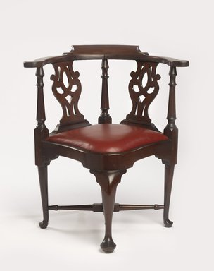 Jonathan Goddard (British). <em>Chippendale Corner Chair</em>, 18th century. Mahogany, modern upholstery, 32 1/2 x 28 1/2 x 26 1/4 in. (82.6 x 72.4 x 66.7 cm). Brooklyn Museum, Henry L. Batterman Fund, 29.110. Creative Commons-BY (Photo: Brooklyn Museum, 29.110_PS9.jpg)
