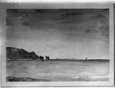Philip Wilson Steer (British, 1860-1942). <em>The Needles</em>, 1919. Watercolor, Sheet: 9 1/2 x 13 1/4 in. (24.1 x 33.7 cm). Brooklyn Museum, Gift of Frank L. Babbott, 29.1119 (Photo: Brooklyn Museum, 29.1119_glass_bw.jpg)
