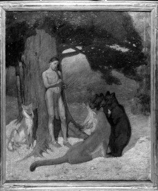 Edwin Willard Deming (American, 1860-1942). <em>The Indian Orpheus</em>, 1907. Oil on canvas, 39 15/16 x 34 1/16 in. (101.5 x 86.5 cm). Brooklyn Museum, Museum Collection Fund, 29.1197 (Photo: Brooklyn Museum, 29.1197_acetate_bw.jpg)