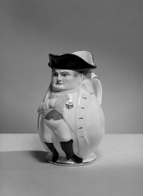 <em>Napoleon Jug</em>, 1895. Porcelain, belleek ware., 9 3/4 x 4 1/2 (of base) in. (24.8 x 11.4 cm). Brooklyn Museum, Bequest of Dr. Marion Reilly, 29.122. Creative Commons-BY (Photo: Brooklyn Museum, 29.122_acetate_bw.jpg)