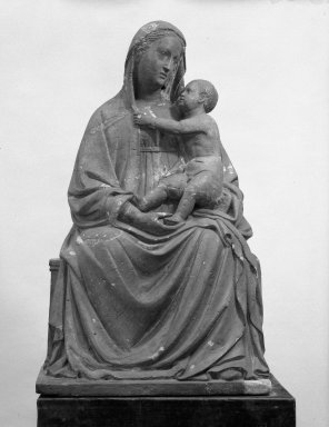 Unknown. <em>Madonna and Child</em>, 15th century. terracotta, 35 7/16 x 21 1/4 x 16 5/16 in. (90 x 54 x 41.5 cm). Brooklyn Museum, 29.1256. Creative Commons-BY (Photo: Brooklyn Museum, 29.1256_bw.jpg)