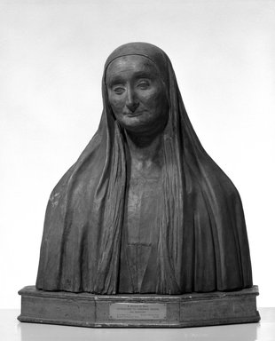 Attributed to Vincenzo Onofri (Italian, active 1493-1524). <em>S. Giuliana de Banzi</em>, 15th century. Terra cotta, 22 1/16 x 19 5/16 x 9 13/16 in. (56 x 49 x 25 cm). Brooklyn Museum, A. Augustus Healy Fund, 29.1301. Creative Commons-BY (Photo: Brooklyn Museum, 29.1301_bw_SL4.jpg)