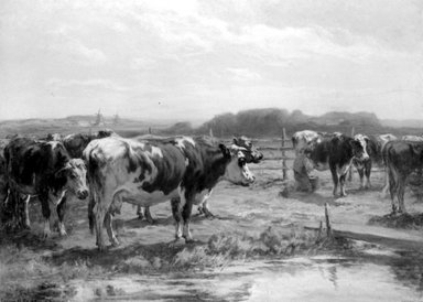 William  Henry Howe (American, 1846-1929). <em>Milking Time in Holland</em>, ca. 1902. Oil on canvas, 34 5/16 x 46 9/16 in. (87.2 x 118.3 cm). Brooklyn Museum, Gift of Mrs. William H. Howe in memory of her husband, William H. Howe, 29.1306 (Photo: Brooklyn Museum, 29.1306_bw.jpg)