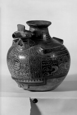 Recuay. <em>Effigy Vessel</em>, 1-650. Ceramic, pigment (negative resist painting technique), 8 1/4 x 8 x 8 in. (21 x 20.3 x 20.3 cm). Brooklyn Museum, Museum Collection Fund, 29.1312.16. Creative Commons-BY (Photo: Brooklyn Museum, 29.1312.16_acetate_bw.jpg)