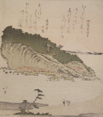 Totoya Hokkei (Japanese, 1780-1850). <em>Fuji from Enoshima</em>, ca. 1815-1818. Color woodblock print on paper, 8 1/4 x 7 5/16 in. (21 x 18.5 cm). Brooklyn Museum, Bequest of Marion Reilly, 29.1574 (Photo: Brooklyn Museum, 29.1574.jpg)
