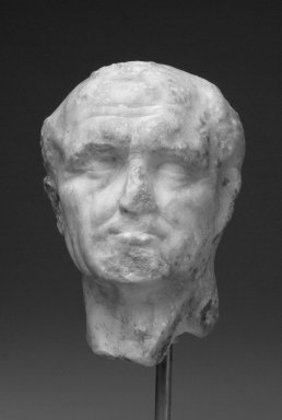Roman. <em>Head of Man</em>, late 1st century C.E. Marble, 6 × 4 × 10 3/4 in. (15.2 × 10.2 × 27.3 cm). Brooklyn Museum, Gift of Bianca Olcott in memory of her father, Professor George M. Olcott of Columbia University, of her grandfather, George N. Olcott, and of her great-grandfather, Charles M. Olcott, President of the Brooklyn Institute of Arts and Sciences 1851-1853, 29.1605. Creative Commons-BY (Photo: Brooklyn Museum, 29.1605_front.jpg)