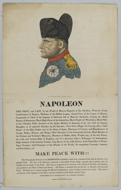 Unknown. <em>Napoleon, the First and Last</em>. Etching, letterpress, and watercolor (hand coloring) on wove paper, sheet: 18 1/2 × 11 3/4 in. (47 × 29.8 cm). Brooklyn Museum, Bequest of Marion Reilly, 29.1619.19 (Photo: Brooklyn Museum, 29.1619.19_PS1.jpg)