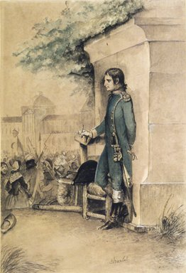 Nicolas Toussaint Charlet (French, 1792-1845). <em>Bonaparte at the Tuileries (Bonaparte aux Tuileries)</em>, n.d. Pencil and watercolor on heavy wove paper, Sheet: 9 15/16 x 6 3/4 in. (25.2 x 17.1 cm). Brooklyn Museum, Bequest of Marion Reilly, 29.234 (Photo: Brooklyn Museum, 29.234_transp964.jpg)