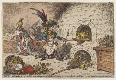 James Gillray (British, 1757-1815). <em>Tiddy-doll the Great French Gingerbread Baker Drawing Out a New Batch of Kings</em>, 1806. Etching and watercolor (hand coloring) on wove paper, image: 9 3/8 × 14 3/8 in. (23.8 × 36.5 cm). Brooklyn Museum, Bequest of Dr. Marion Reilly, 29.250 (Photo: Brooklyn Museum, 29.250_PS4.jpg)