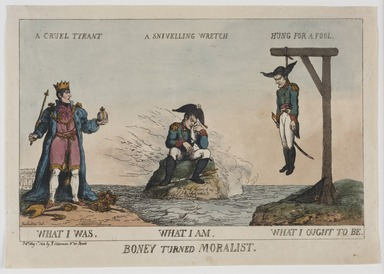 Thomas Rowlandson (British, 1756-1827). <em>Boney Turned Moralist</em>, 1814. Etching and watercolor (hand coloring) on wove paper, image: 8 1/16 × 13 5/16 in. (20.5 × 33.8 cm). Brooklyn Museum, Bequest of Dr. Marion Reilly, 29.253 (Photo: Brooklyn Museum, 29.253_PS11.jpg)