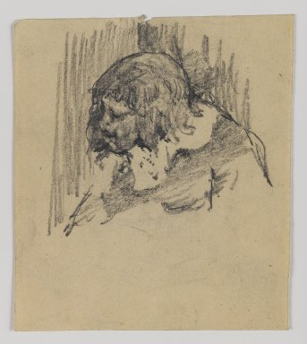 William Merritt Chase (American, 1849-1916). <em>[Untitled] (Sketch of Head of Man)</em>, n.d. Graphite on paper, Sheet: 4 13/16 x 4 3/16 in. (12.2 x 10.6 cm). Brooklyn Museum, Gift of Newhouse Galleries, Inc., 29.27.10 (Photo: Brooklyn Museum, 29.27.10_IMLS_PS4.jpg)