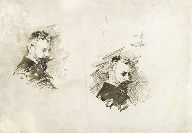 William Merritt Chase (American, 1849-1916). <em>Self-Portrait Studies</em>, ca. 1886. Brown ink on off-white, medium-weight, moderately textured laid paper, Sheet: 11 1/2 x 16 1/2 in. (29.2 x 41.9 cm). Brooklyn Museum, Gift of Newhouse Galleries, Inc., 29.27.12 (Photo: Brooklyn Museum, 29.27.12_PS6.jpg)