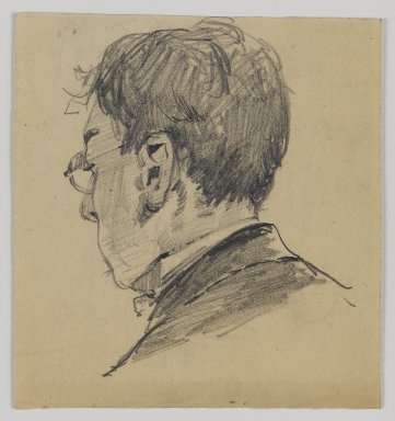 William Merritt Chase (American, 1849-1916). <em>[Untitled] (Sketch of Back of Man's Head)</em>, n.d. Graphite on paper, Sheet: 4 1/2 x 4 3/16 in. (11.4 x 10.6 cm). Brooklyn Museum, Gift of Newhouse Galleries, Inc., 29.27.1 (Photo: Brooklyn Museum, 29.27.1_IMLS_PS4.jpg)